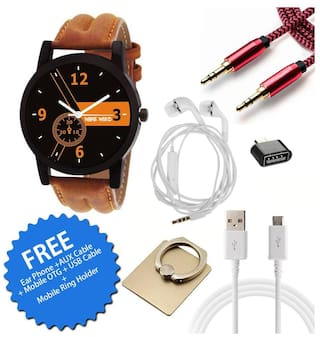 Wake Wood Black Dial Watch For Men with Free Ear Phone + AUX Cable + Mobile OTG + USB Cable + Mobile Ring Holder
