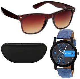 Wake Wood Black Dial Watch with Free Brown Wayfarer Sunglasses & Hard Case