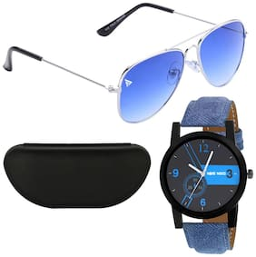 Wake Wood Black Dial Watch with Free Blue Gredient UV 400 Sunglasses & Hard Case