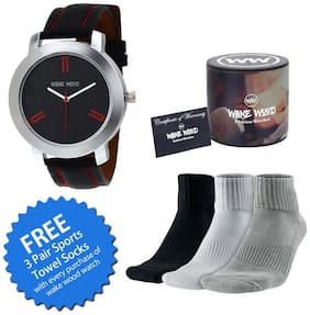 Wake Wood Black Dial Watch For Men with Free 3 Pair Sports Towel Socks