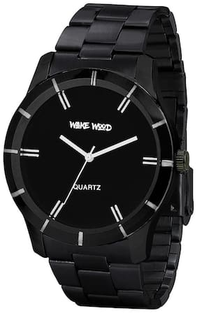 Wake Wood Black Dial Watch With Black Stainless Steel Strap