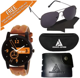 Wake Wood Black Dial Watch For Men With Sunglasses +  Wallet
