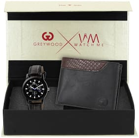 Watch Me Analog Watch with Free Greywood Men Black Leather Wallet Gift Set WMC-003-GW-007