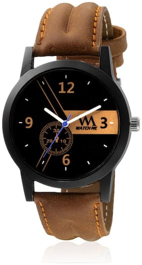 Watch Me Black Dial Brown Leather Strap Watch for Boys WMC-001