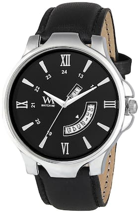 Watch Me Black Dial Black Leather Strap Premium Branded Limited Edition Day and Date Collection Watch for Men DDWatch Me-051