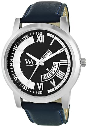 Watch Me Black Dial Blue Leather Strap Premium Branded Limited Edition Day and Date Collection Watch for Men DDWatch Me-059