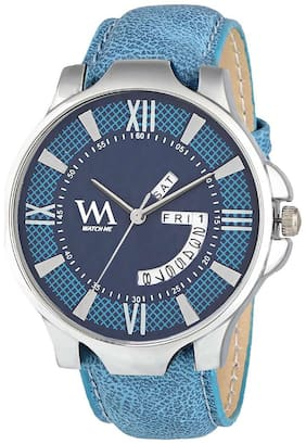 Watch Me Blue Dial Blue Leather Strap Day and Date Collection Series Analog Quartz Watch for Men and Boys DDWM-027bys
