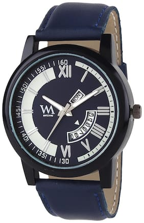 Watch Me Blue Dial Blue Leather Strap Premium Branded Limited Edition Day and Date Collection Watch for Men DDWatch Me-056