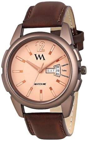 Watch Me Day Date Collection Brown Dial Brown Leather Strap Watch for Men and Boys DDWM-031