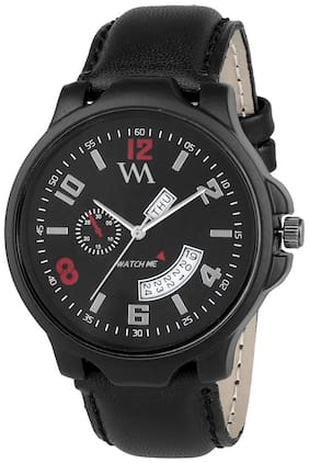 Watch Me Day and Date Collection Black Dial Black Leather Strap Watch for Men and Boys DDWM-030
