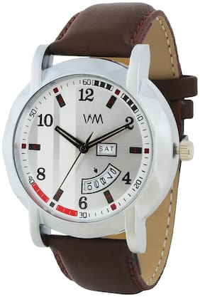 Watch Me Day and Date Luxury Limited Edition Special Quartz Analog White Dial Brown Leather Watch For Men and Boys DDWM-073