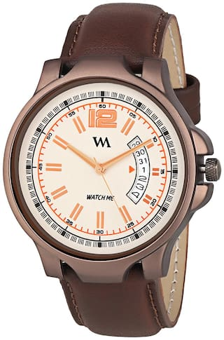 Watch Me Day and Date Analog White Dial Brown Leather Strap Quartz Watch for Men and Boys DDWM-019bys