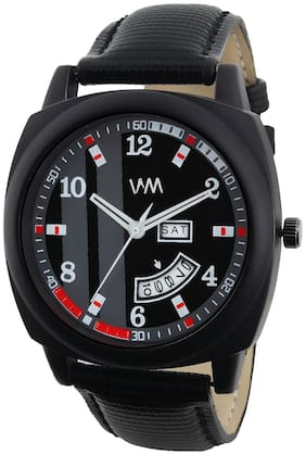 Watch Me Day and Date Luxury Limited Edition Special Quartz Analog Black Dial Black Leather Watch For Men and Boys DDWM-079