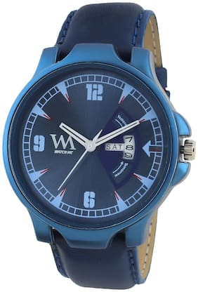 Watch Me Day and Date Luxury Limited Edition Special Quartz Analog Blue Dial Blue Leather Watch For Men and Boys DDWM-080