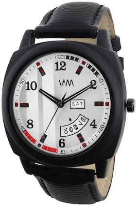 Watch Me Day and Date Luxury Limited Edition Special Quartz Analog White Dial Black Leather Watch For Men and Boys DDWM-078