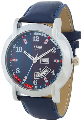 Watch Me Day and Date Luxury Limited Edition Special Quartz Analog Blue Dial Blue Leather Watch For Men and Boys DDWM-074
