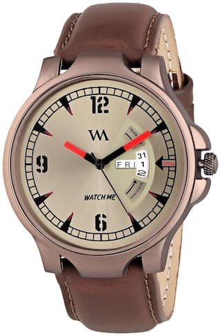 Watch Me Day and Date Analog Brown Dial Brown Leather Strap Quartz Watch for Men and Boys DDWM-018bys