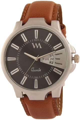 Watch Me Day Date Series Black Analog Leather Quartz Watch for Men and Boys with Working Day/Date DDWM-007bys