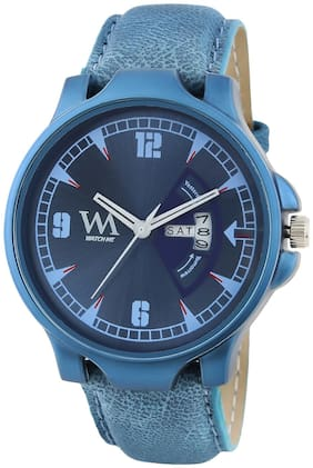 Watch Me Day and Date Luxury Limited Edition Special Quartz Analog Blue Dial Blue Leather Watch For Men and Boys DDWM-086