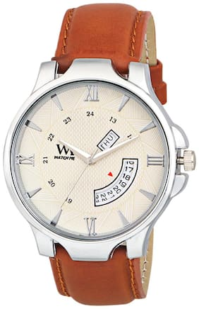 Watch Me Day Date Collection White Dial Brown Leather Strap Watch for Men and Boys DDWM-043