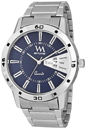 Watch Me Day Date Series Blue Analog Stainless Steel Quartz Watch for Men and Boys with Working Day/Date DDWatch Me-008bysWatch Meaeon