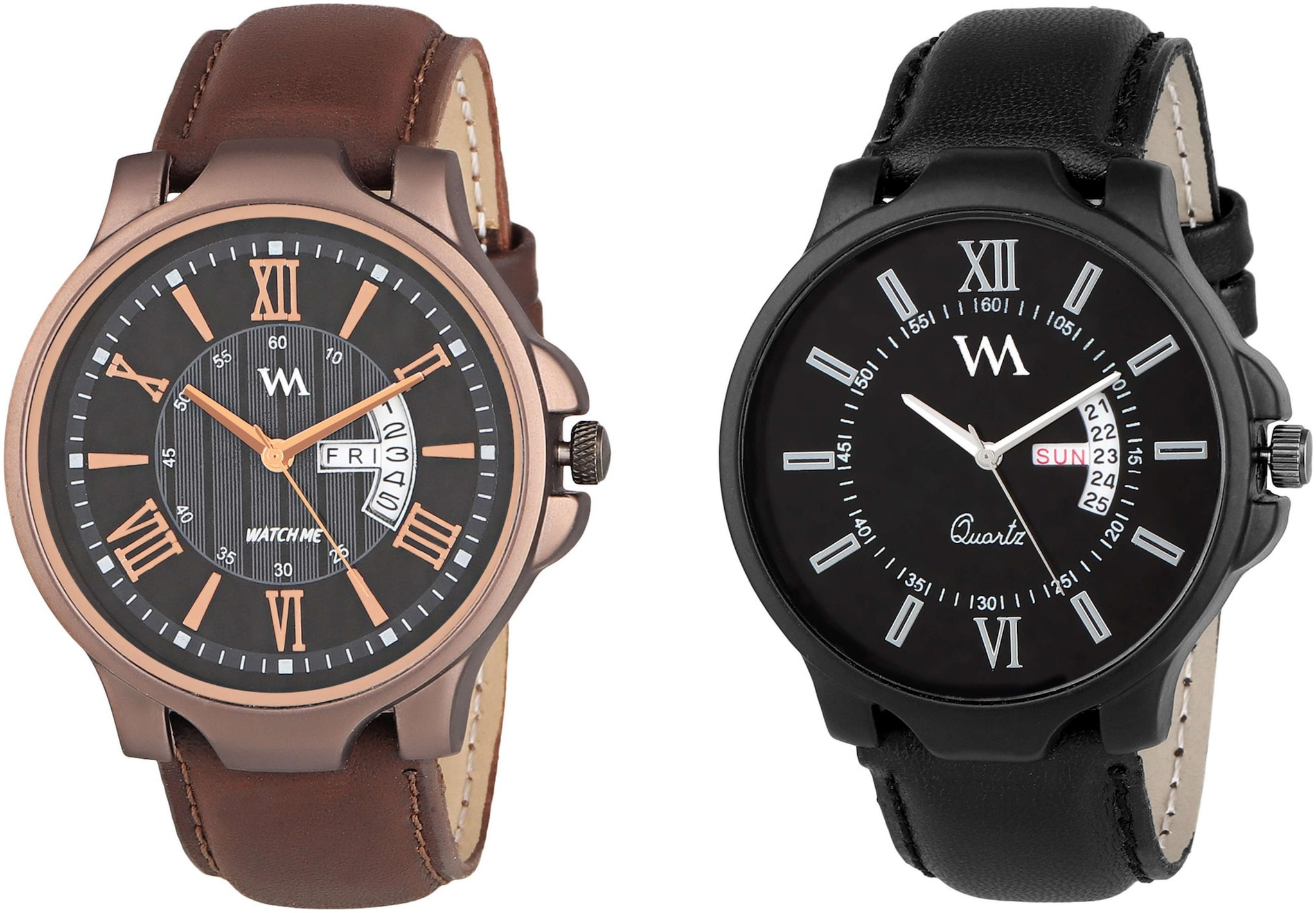 Watch Me Day and Date Analog Watches Gift Combo Set for Men and Boys DDWM 022 023