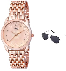 Watch Me Rose Gold Stainless Steel Rose Gold Dial Watch For Women with Free Sunglasses WMAL-365-wmg-002