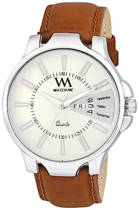 Watch Me White Dial Brown Leather Strap Premium Branded Limited Edition Day and Date Collection Watch for Men DDWatch Me-053
