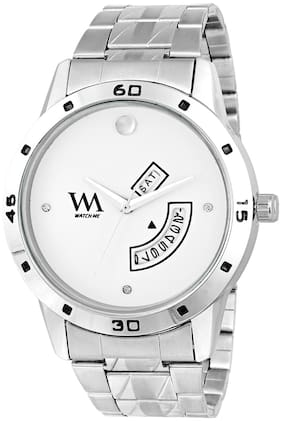 Watch Me White Dial Silver Stainless Steel Strap Premium Branded Limited Edition Day and Date Collection Watch for Men DDWatch Me-062