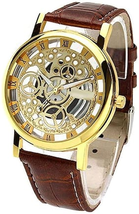 watchstar open dial gold color watch for men and boys