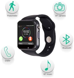 Waylon A3M Bluetooth Smart Watch Touchscreen Smart Wrist Watch Smartwatch Phone Fitness Tracker With Sim Sd Card Camera Pedometer Compatible iOS Iphone Android For Men&Women (Black)