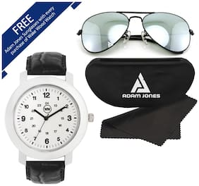 White Dial Watch For Men with with Free Sunglasses