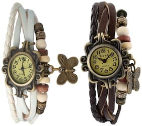 Women Black-White Color Braslate Analog Watches- combo of 2