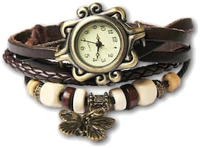 Women Butterfly Brown Braslate Analog Watches