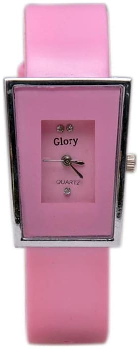 Women Glory Pink analog rectangle dial Watches(Pack of 5)