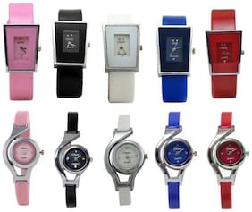 Women Glory Multi color Glory Analog Watches- SET OF 10(Pack of 5)