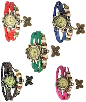 Women Multi Color Braslate Analog Watches- combo of 5(Pack of 5)