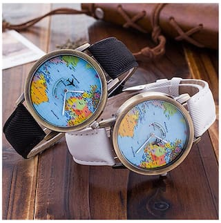 Buy womens world map dial denim fabric strap analog quartz students womens world map dial denim fabric strap analog quartz students wrist watch gumiabroncs Images