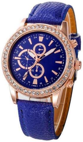 Wonder Round Cronograph Pettern Blue Leather Belt Wrist Watch For Women