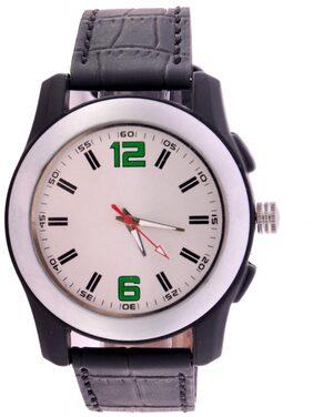 Wonder White Dial Black Strap Analog Wrist Watch For Men/boys