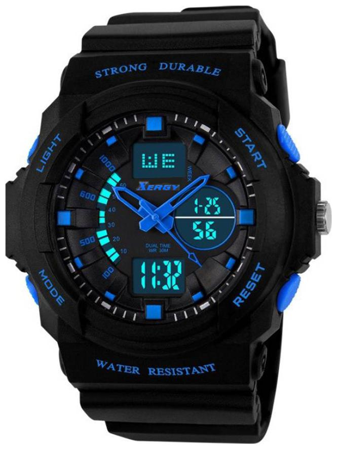 Xergy Analog Digital;water resistant;Alarm;Stopwatch;LED Light;Dual time Sports Watch 8217 5