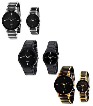 e21ad7e0fcd Xforia Couple Watches Combo Offer Marraige Gift Set for Men and Women Pack  of 6 (