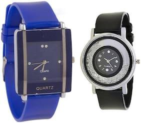 Xforia Girls Watch Black & Blue Pu Fashion Analog Watches For Women Pack of 2