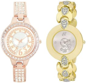 Xforia Girls Watch Rose Gold & Golden Metal Fashionable Analog Watches For Women Pack of 2
