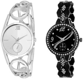 Xforia Girls Watch Silver & Black Metal Fashion Analog Watches For Women Pack of 2