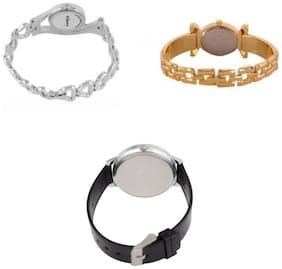 Xforia Women Fancy Watches Gold;Silver & Black Daily Waer Watch for Women Pack of 3