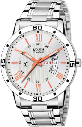 Youth Club DD-94SIL New Day and Date Display Silver Coloured Watch - For Men