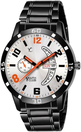 Youth Club DDBLK-27SIL NEW Silver Classy and Unique Dial With Black Strap Analog Watch - For Men