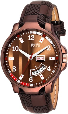 Youth Club DD-209CF New Day and Date Functioning Brown Dial Watch - For Men