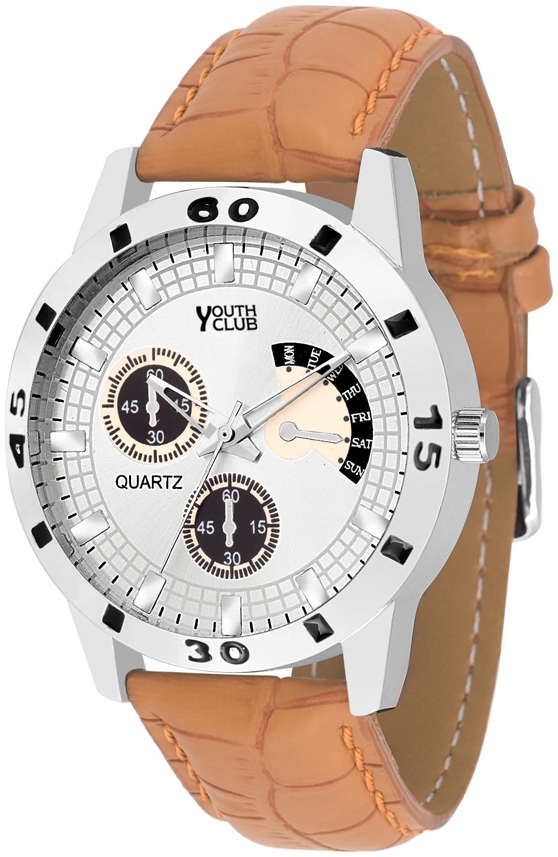 Youth Club YCS 27TAN NEW CHRONO PATTERN ANALOG DIAL Watch   For Boys by Shiva Traders